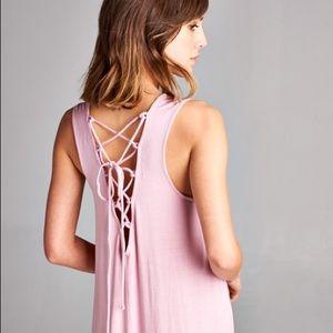 Blush lace up back dress